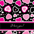 Vector valentines card on seamless hearts background — Stok fotoğraf