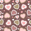 Stock Photo: Vector valentines card on seamless hearts background