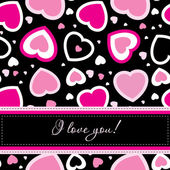 Vector valentines card on seamless hearts background — Stock Photo