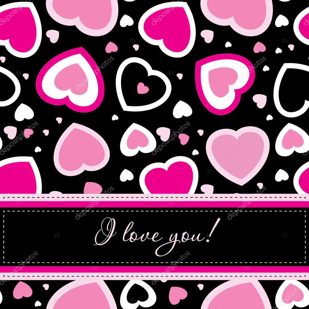 Vector valentines card on seamless hearts background  — Stock Photo #7767390