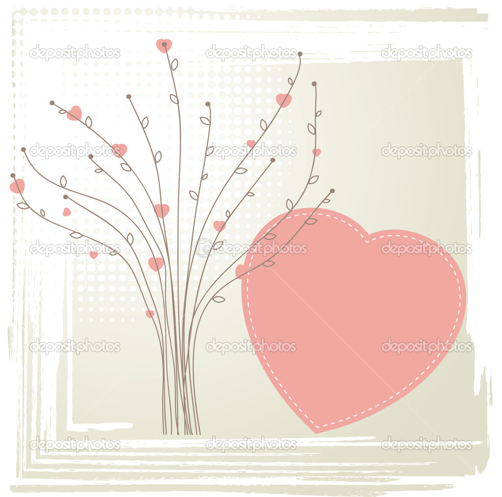 Tree with hearts. Vintage valentine concept  Stock Photo #7767392
