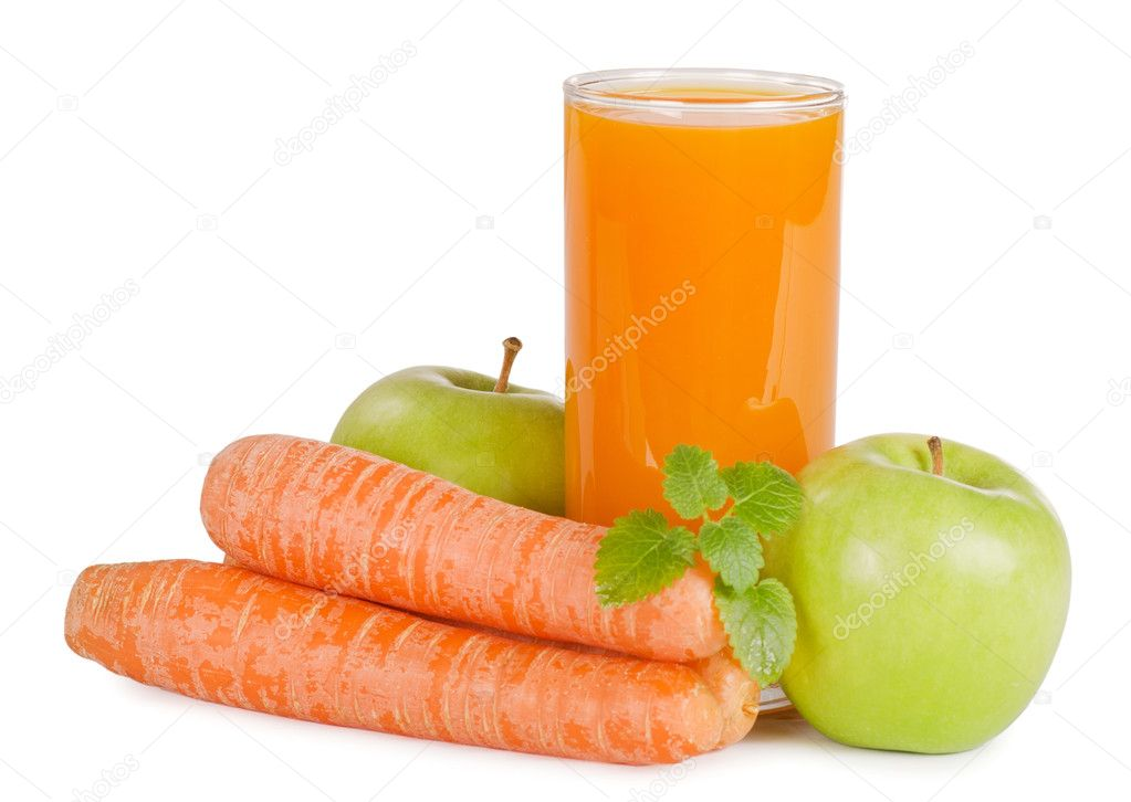 Glass with carrot juice  isolated on white  Stockfoto #6785682