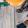 Set building tools on old boards - Stock Photo