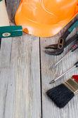 Conjunto de ferramentas de construção em placas antigas — Foto Stock