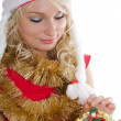 Christmas girl with gifts isolated — ストック写真