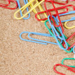 Close-up of multi-colored paper clips - ストック写真
