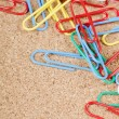 Close-up of multi-colored paper clips - Stockfoto