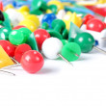 Closeup of multi-colored paper clips — Stock Photo #7433468