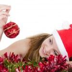 garota de Natal com presentes isolada — Foto Stock