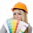 Royalty-Free Stock Photo: Beautiful girl in a building helmet