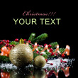 Christmas and New Year Border on black — Stock Photo
