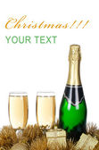 Champagne con ornamenti di Natale — Foto Stock
