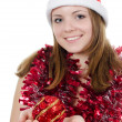 Stock Photo: Christmas girl isolated on white