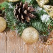 The christmas decorative border on wooden background — Stock Photo