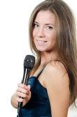 Kız beyaz izole bir mikrofon ile — Stok fotoğraf