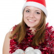 Christmas girl isolated on white — Stock Photo
