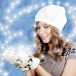 The beautiful girl in mittens — Stock Photo #7852723