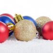 The christmas tree ball in snow isolated — Stock Photo