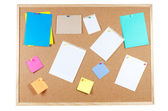 Corkboard with announcements — Stock Photo