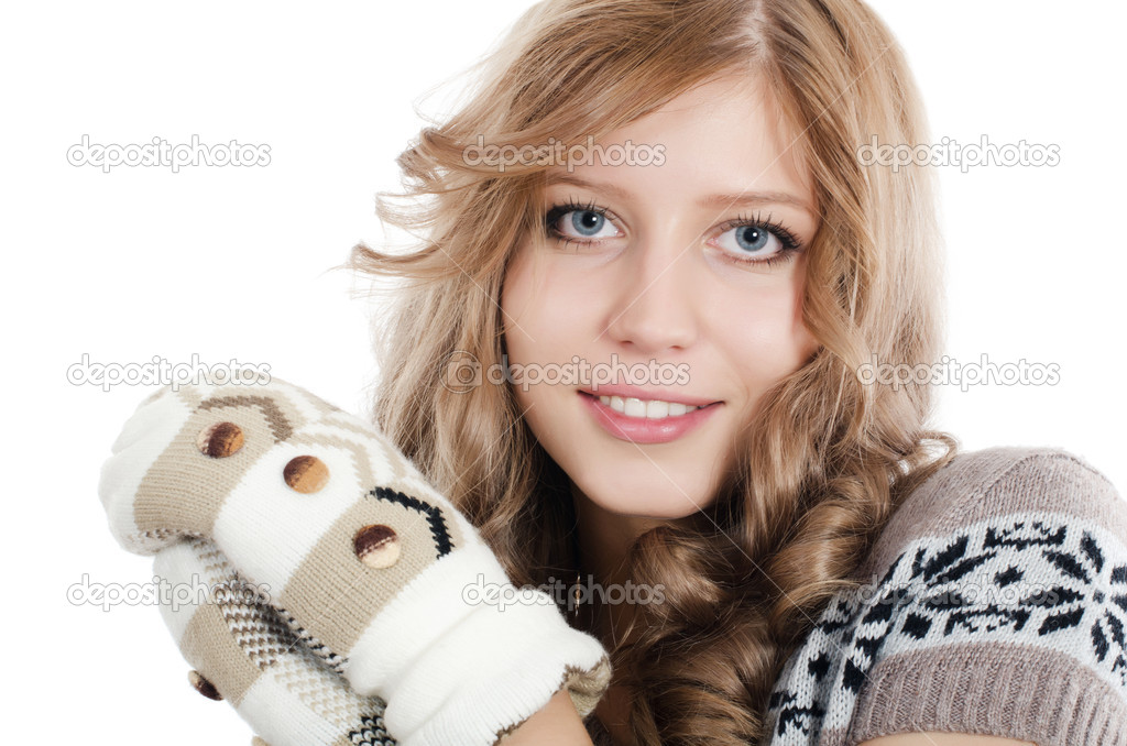 Beautiful girl in mittens isolated on  white  Photo #7852720