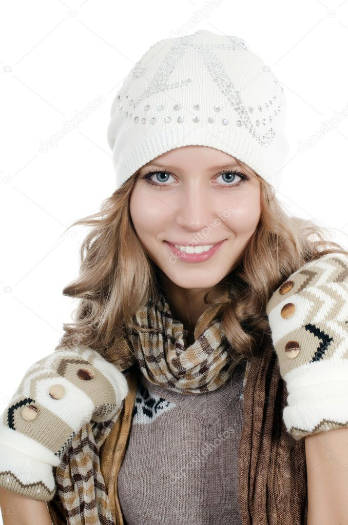 Beautiful girl in mittens isolated on  white  Stock Photo #7852725