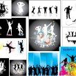 Set Posters of the dancing — Stock Vector