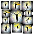 Stock Vector: Dancing man. Set posters