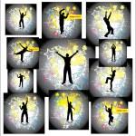 Dancing man. Set posters — Stock Vector