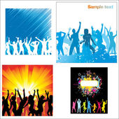 Set Posters of dancing girls and boys — Stock Vector