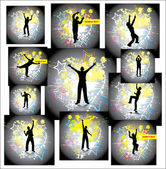 Dancing man. Set posters — Stock Vector