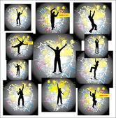 Homem dança. conjunto de cartazes — Vetor de Stock