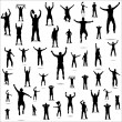 Set of poses from fans — Stock Vector