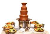 Chocolate fondue with fruits — Stock Photo