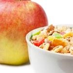 Muesli and apple — Stock Photo