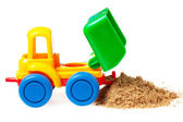 Kolorowe zabawki ciężarówki — Zdjęcie stockowe