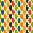Halloween background. Retro pattern with owls. - Stock Vector