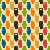 Halloween background. Retro pattern with owls. — Stock Vector