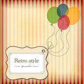 Vintage greeting postcard with tag and balloons. — Stock Vector