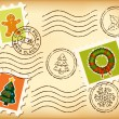 Stock Vector: Vintage Christmas postage set on old paper.