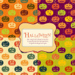 Stok Vektör: Halloween backgrounds set with tag. Retro pattern. Four colors.