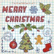 Hand-Drawn Christmas Doodles. Lettering Merry Christmas. Vector — Stock vektor