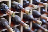 Dusty wine rack. — Stock Photo