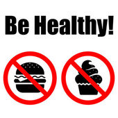 Comida de símbolos prohibidos. las letras ser saludable — Vector de stock