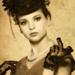 Stock Photo: Vintage styled portrait of a beautiful woman