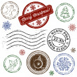 Christmas stamp set isolated on white. Vector — Stockvektor
