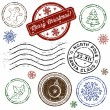 Christmas stamp set isolated on white. Vector — Imagen vectorial