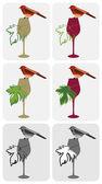 Wine-bird-on-glass — Stock Vector