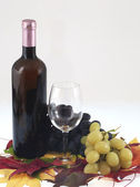 Red wine bottle, glass and grapes — Stock Photo