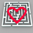 Labyrinth and heart - Stock Photo