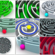 Collage from 9 labyrinthes. icon. — Stock Photo